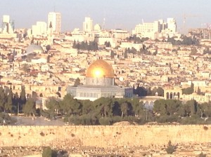 A view of Temple Mount from the Garden of Gethsemane (Mount of Olives)...